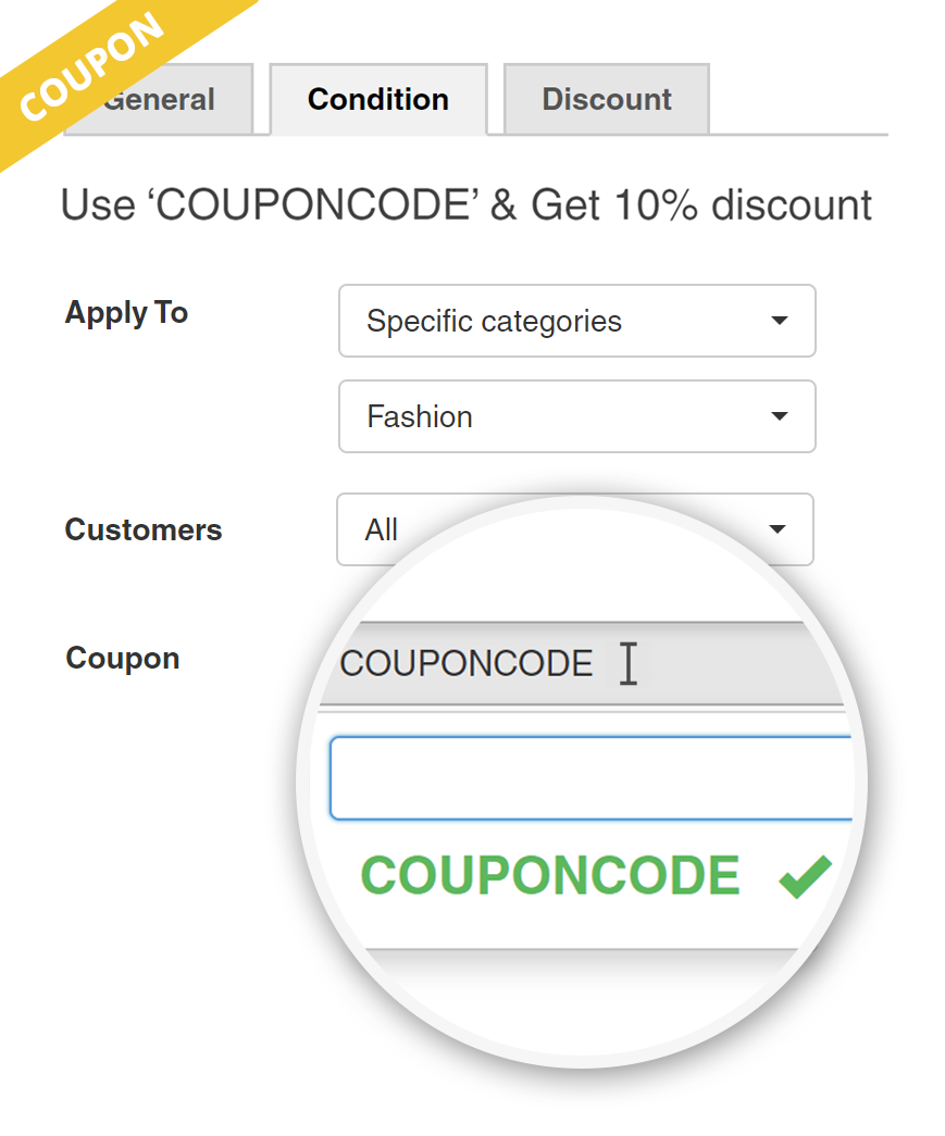 Coupon activated discount