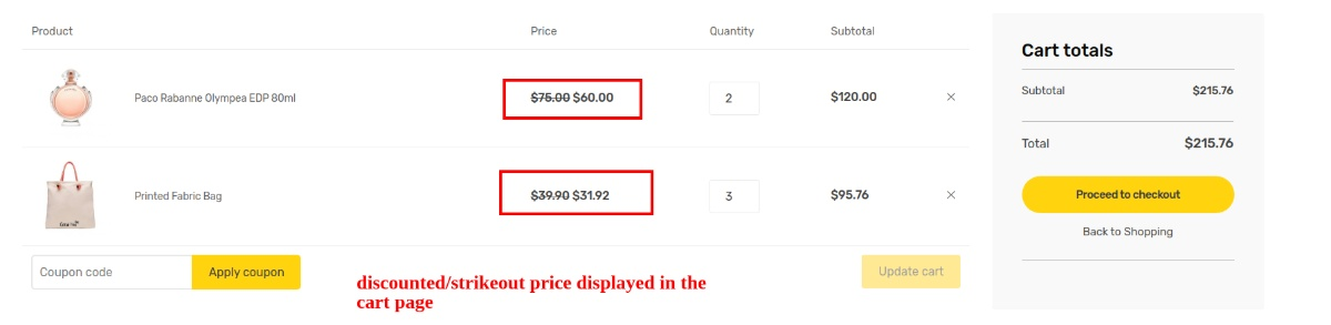 9 disounted price cart page