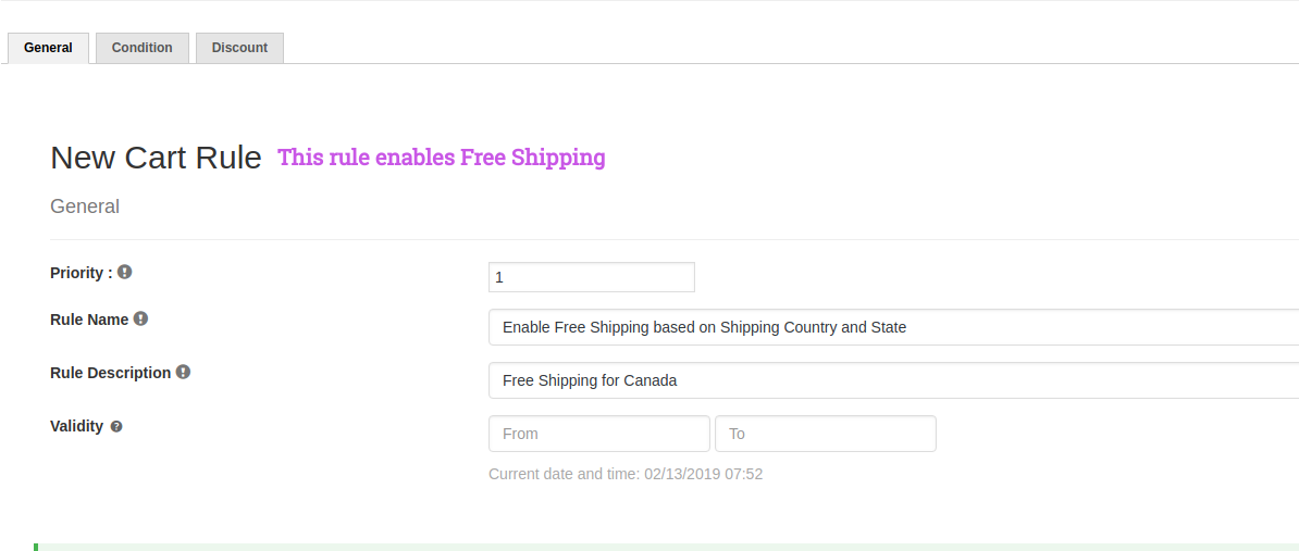 Cart Rule - Free Shipping