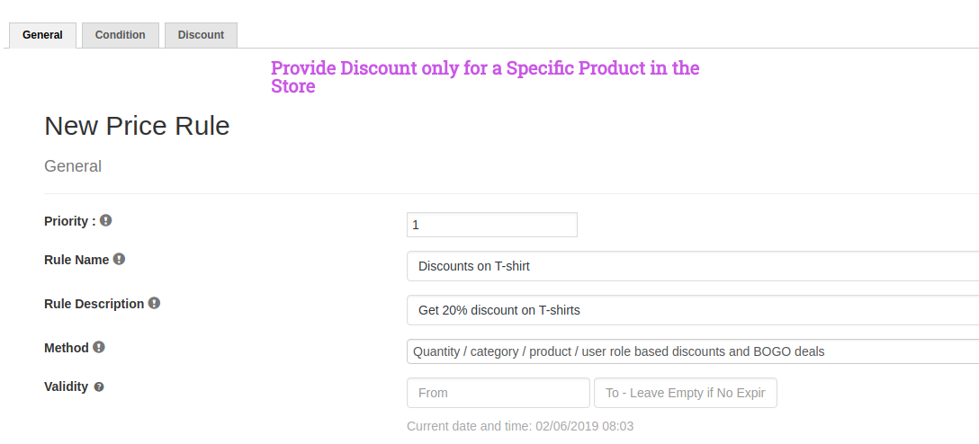 Specific Product Discout - Get 20% discount on T-shirts