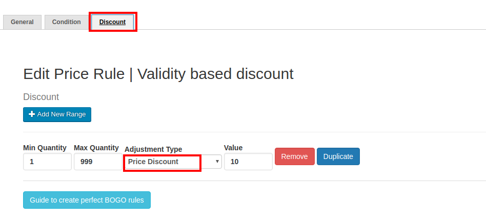 Setting up Validity (Time Period) for a Discount