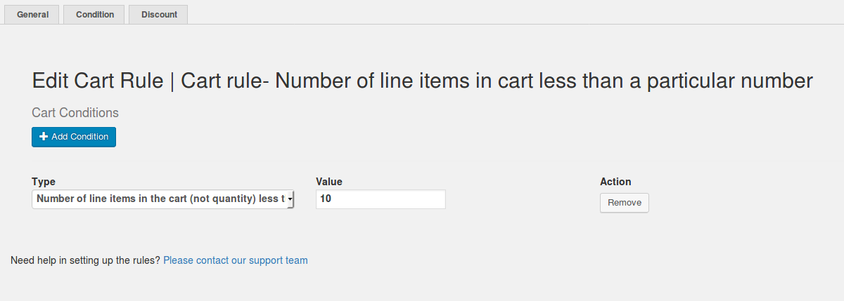 Cart rule- Number of line items(not quantity) less than a particular number