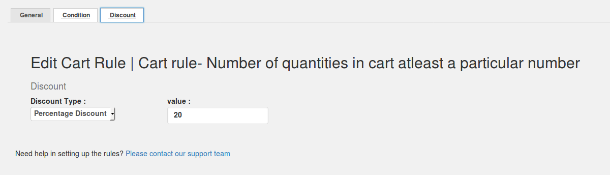 Cart rule- Number of quantities in the cart at least a given number