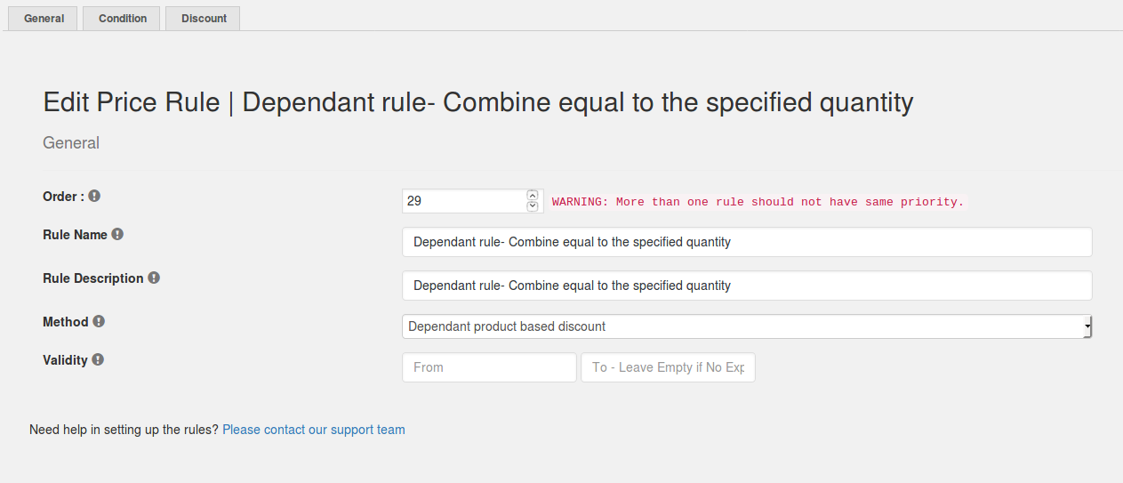 Dependant rule- Combine equal to the specified quantity