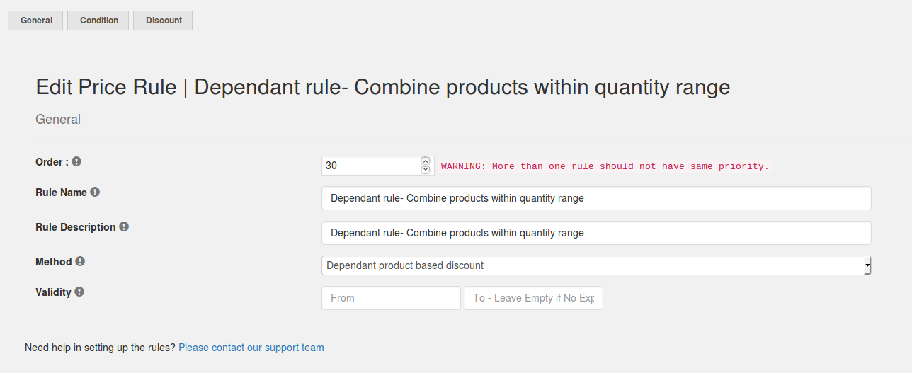 Dependant rule- Combine within the quantity range