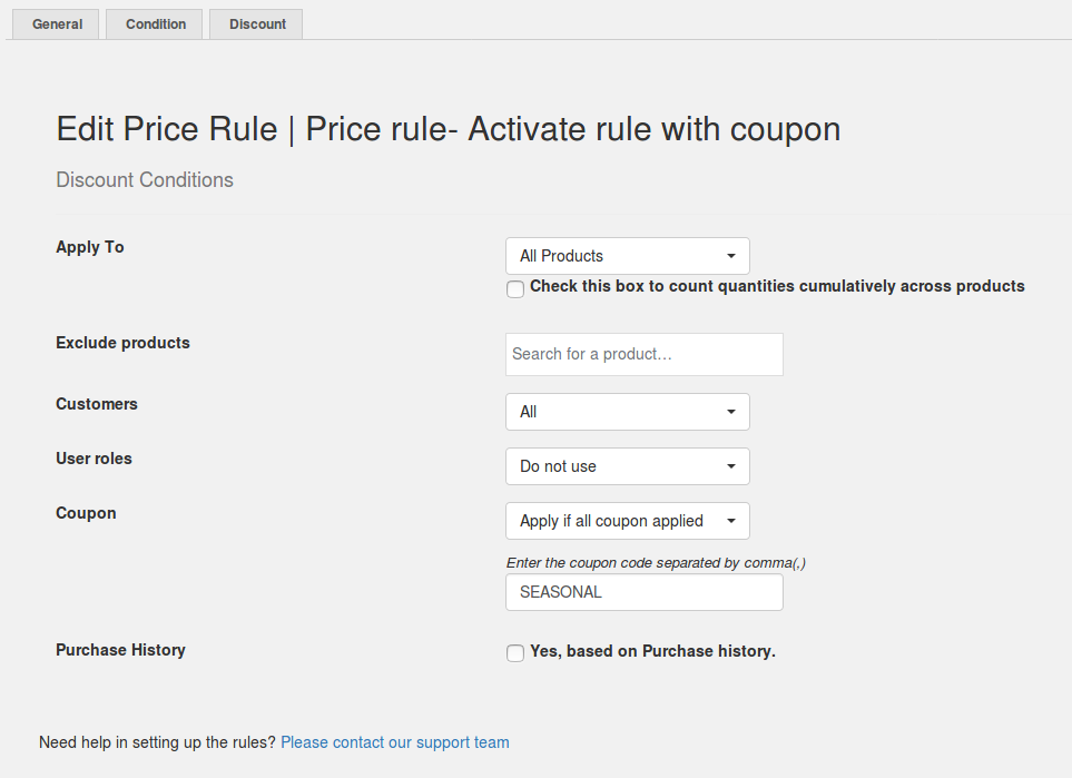 Price rule- Discount activation through coupon