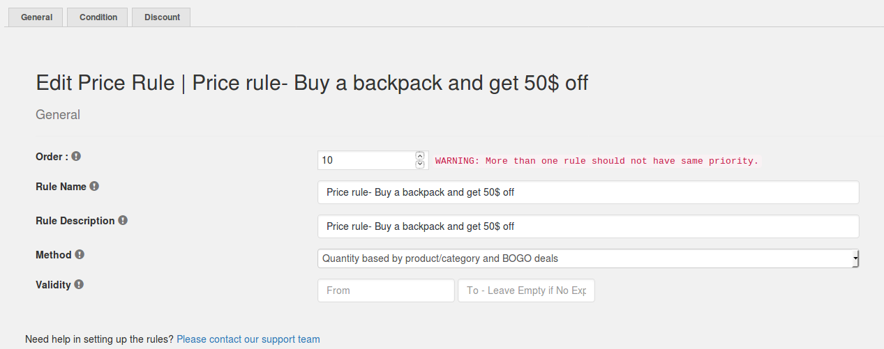 Price Discount - Buy backpack at $50 off
