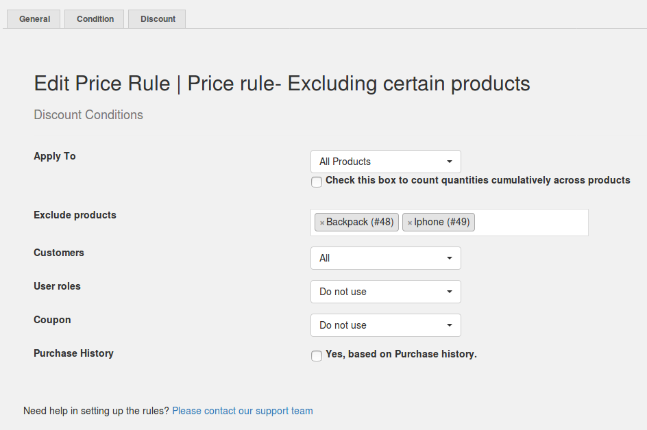 Price rule- Store-wide excluding certain products