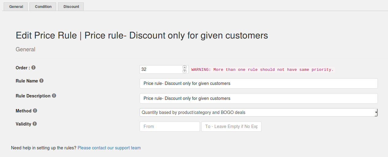 Price rule- Discount for Specified users