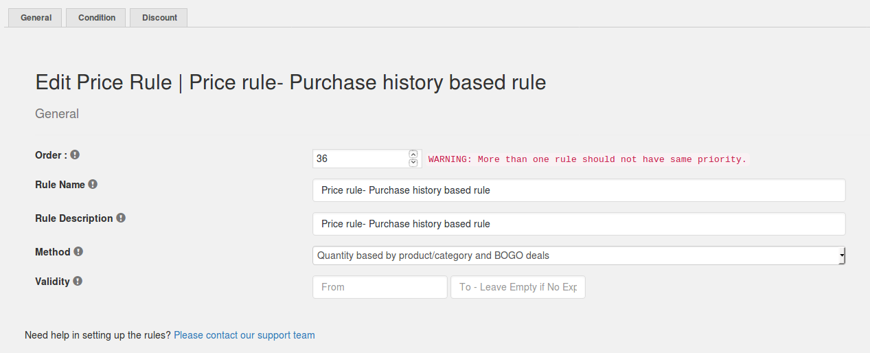 Price rule- Purchase history based discount