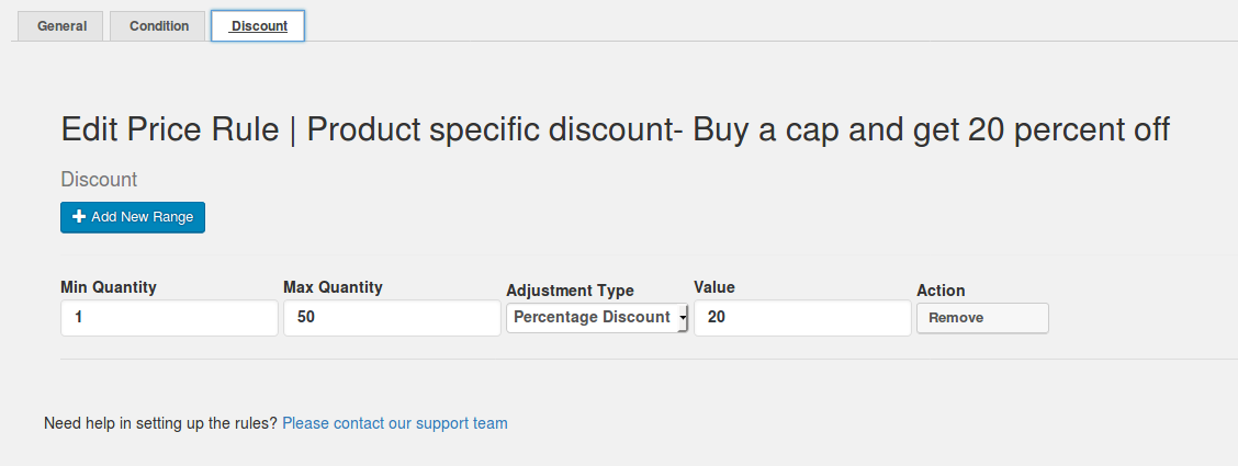 Specific Product Discout - Buy a cap and get 20% off